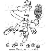 Vector of a Cartoon Male Tennis Player Trying to Hit Balls - Coloring Page Outline by Toonaday