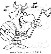 Vector of a Cartoon Male Viking Holding an Ax and Shield and Singing - Coloring Page Outline by Toonaday