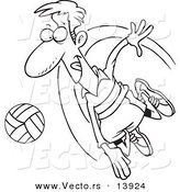 Vector of a Cartoon Male Volleyball Player Hitting a Ball - Coloring Page Outline by Toonaday