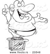 Vector of a Cartoon Man Announcing on a Soap Box - Coloring Page Outline by Toonaday
