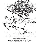 Vector of a Cartoon Man Being Attacked by a Swarm of Bees - Coloring Page Outline by Ron Leishman
