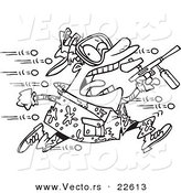 Vector of a Cartoon Man Being Hit with Paintballs - Coloring Page Outline by Toonaday