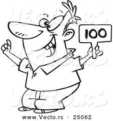 Vector of a Cartoon Man Bidding and Holding a Sign - Outlined Coloring Page by Toonaday