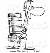 Vector of a Cartoon Man Carrying a Stack of Books - Coloring Page Outline by Toonaday