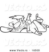 Vector of a Cartoon Man Collapsed on the Ground with Bubble Gum in His Face - Outlined Coloring Page Drawing by Toonaday