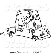 Vector of a Cartoon Man Cramped into His Mini Car - Outlined Coloring Page by Toonaday