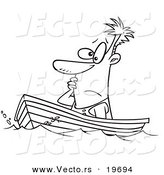 Vector of a Cartoon Man Drifting in a Boat - Outlined Coloring Page by Toonaday