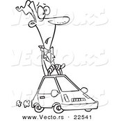 Vector of a Cartoon Man Driving a Compact Car - Coloring Page Outline by Toonaday