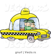 Vector of a Cartoon Man Driving a Yellow Taxi Cab by Gnurf