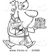 Vector of a Cartoon Man Eating Pancakes and Cracker Jacks for a Midnight Snack - Outlined Coloring Page by Toonaday