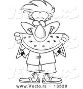 Vector of a Cartoon Man Eating Watermelon - Coloring Page Outline by Ron Leishman