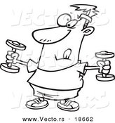 Vector of a Cartoon Man Exercising with Dumbbells - Outlined Coloring Page by Toonaday