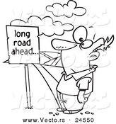 Vector of a Cartoon Man Facing a Long Road Ahead Sign and a Hilly Path - Outlined Coloring Page by Toonaday