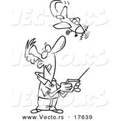 Vector of a Cartoon Man Flying a Remote Control Plane - Coloring Page Outline by Toonaday
