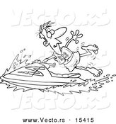 Vector of a Cartoon Man Hanging onto a Jetski - Coloring Page Outline by Toonaday