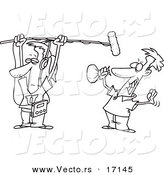 Vector of a Cartoon Man Holding a Boom Microphone over an Actor - Coloring Page Outline by Toonaday