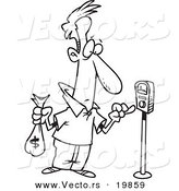 Vector of a Cartoon Man Holding a Money Bag and Paying a Parking Meter - Outlined Coloring Page by Toonaday