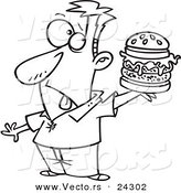 Vector of a Cartoon Man Holding a Reject Burger Black and White Outline - Outlined Coloring Page by Toonaday
