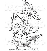 Vector of a Cartoon Man Hugging a Bass Fish - Coloring Page Outline by Toonaday