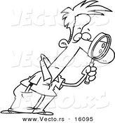 Vector of a Cartoon Man Leaning Forward and Examining with a Magnifying Glass - Outlined Coloring Page Drawing by Toonaday