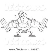 Vector of a Cartoon Man Lifting a Barbell - Outlined Coloring Page by Toonaday