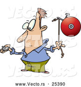 Vector of a Cartoon Man Looking at His Stopwatch While Preparing to Ding a Bell by Ron Leishman