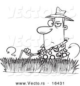 Vector of a Cartoon Man Mowing Tall Grass - Outlined Coloring Page Drawing by Toonaday