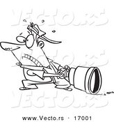 Vector of a Cartoon Man Pulling a Big Lens - Coloring Page Outline by Toonaday