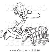 Vector of a Cartoon Man Pushing a Shopping Cart - Coloring Page Outline by Toonaday