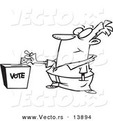 Vector of a Cartoon Man Putting His Ballot into a Vote Box - Coloring Page Outline by Toonaday