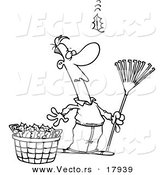 Vector of a Cartoon Man Raking Leaves, Watching yet Another Fall - Outlined Coloring Page by Toonaday