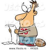 Vector of a Cartoon Man Reading a Long to Do List Before Playing Football by Toonaday