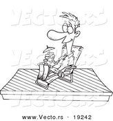 Vector of a Cartoon Man Relaxing on a New Deck - Outlined Coloring Page by Toonaday
