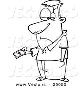 Vector of a Cartoon Man Reluctantly Giving Away American Money - Outlined Coloring Page by Toonaday