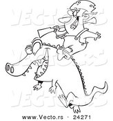 Vector of a Cartoon Man Riding an Alligator - Outlined Coloring Page by Ron Leishman