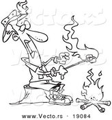 Vector of a Cartoon Man Roasting Marshmallows and Catching His Hat on Fire - Outlined Coloring Page by Toonaday
