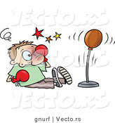 Vector of a Cartoon Man Rubbing His Black Eye While Being Outboxed by a Punching Bag During a Training Lesson by Gnurf