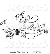 Vector of a Cartoon Man Running from a Lawn Mower - Outlined Coloring Page by Toonaday