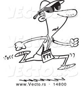 Vector of a Cartoon Man Running in a Triathlon - Coloring Page Outline by Toonaday