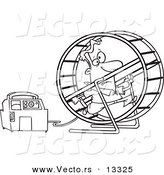 Vector of a Cartoon Man Running in a Wheel to Power a Generator - Coloring Page Outline by Toonaday