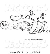 Vector of a Cartoon Man Rushing to Push a Panic Button - Coloring Page Outline by Toonaday