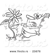 Vector of a Cartoon Man Screaming at a Giant Daisy Springing up - Coloring Page Outline by Toonaday
