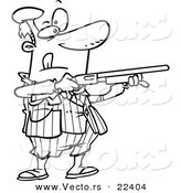 Vector of a Cartoon Man Shooting Clay Pigeons - Coloring Page Outline by Ron Leishman
