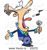 Vector of a Cartoon Man Singing Loud by Toonaday