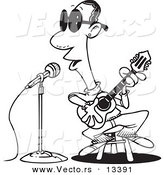 Vector of a Cartoon Man Singing the Blues - Coloring Page Outline by Toonaday