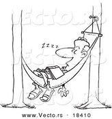 Vector of a Cartoon Man Snoozing in a Hammock - Outlined Coloring Page by Toonaday