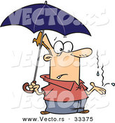 Vector of a Cartoon Man Standing Under Umbrella While It Starts to Rain by Toonaday