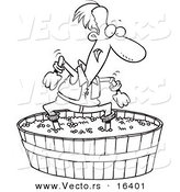 Vector of a Cartoon Man Stomping Grapes - Outlined Coloring Page Drawing by Toonaday