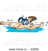 Vector of a Cartoon Man Swimming with Goggles over His Eyes by Toonaday