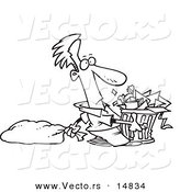 Vector of a Cartoon Man Taking out a Lot of Trash - Coloring Page Outline by Toonaday